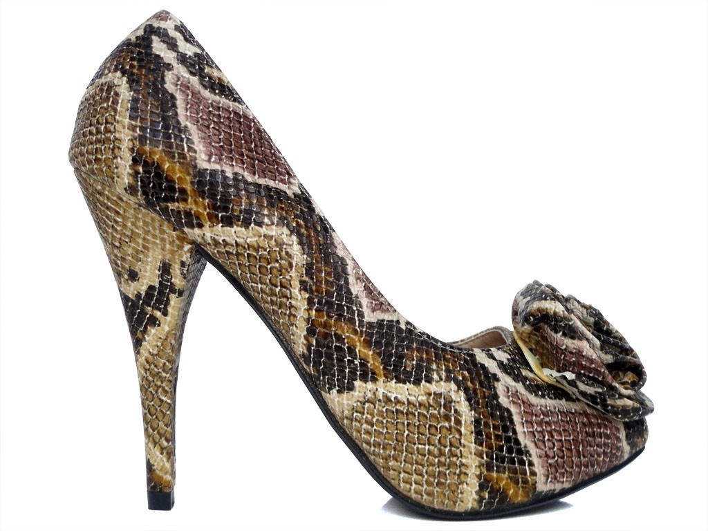 Brown white toeless shoe pumps - 1