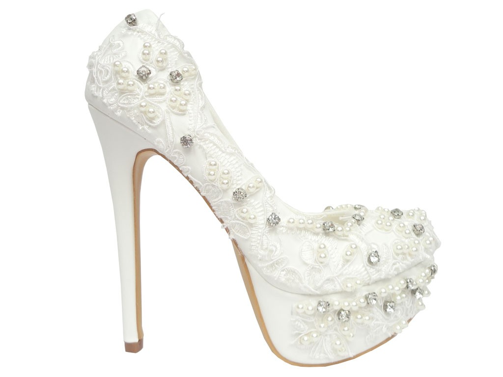 White pins with zirconia wedding lace - 1