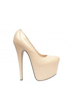 New szpilki beżowe ecru lakierowane high heels