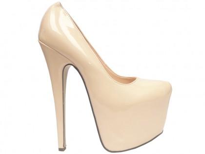 Neue Pumps beige ecru lackierte High Heels - 1
