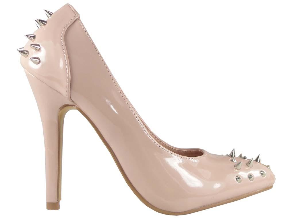High Heels Pumps Schuhe beige Lackleder - 1