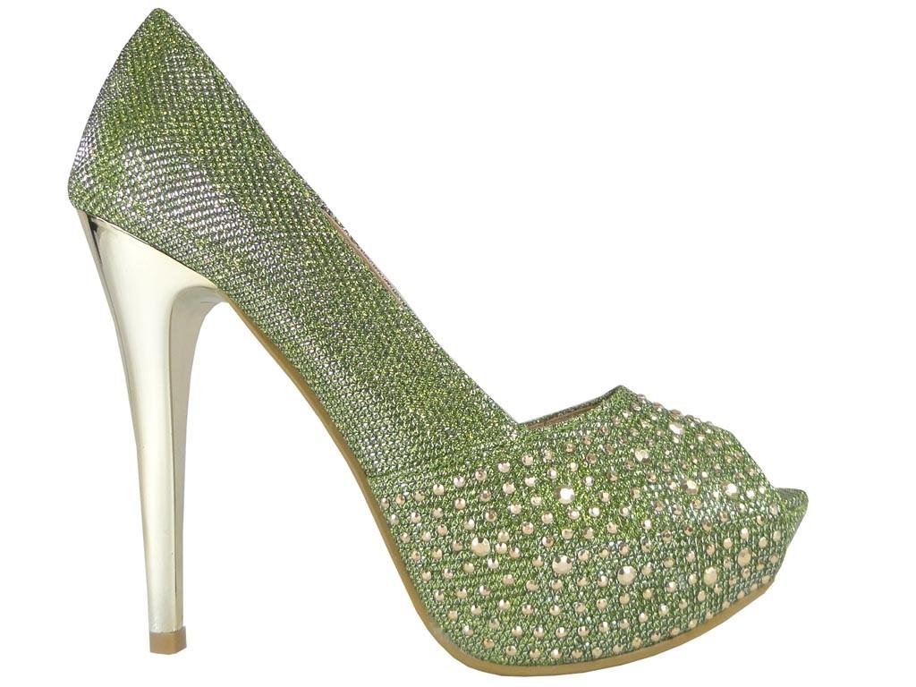 Olivgrüne High Heels auf Strassplattform - 1