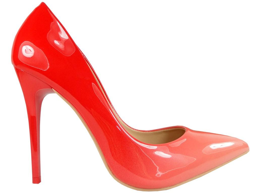 Czerwone szpilki cieniowane ombre szpic - 1