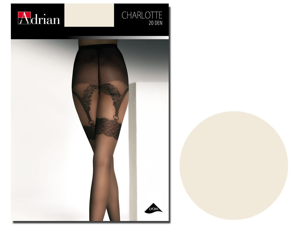 Charlotte ecru tights imitate stockings - 1
