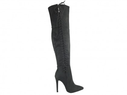 Graphite suede boots by the knee - 1