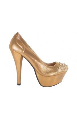 Outlet szpilki buty brokatowe złote kolce ćwieki