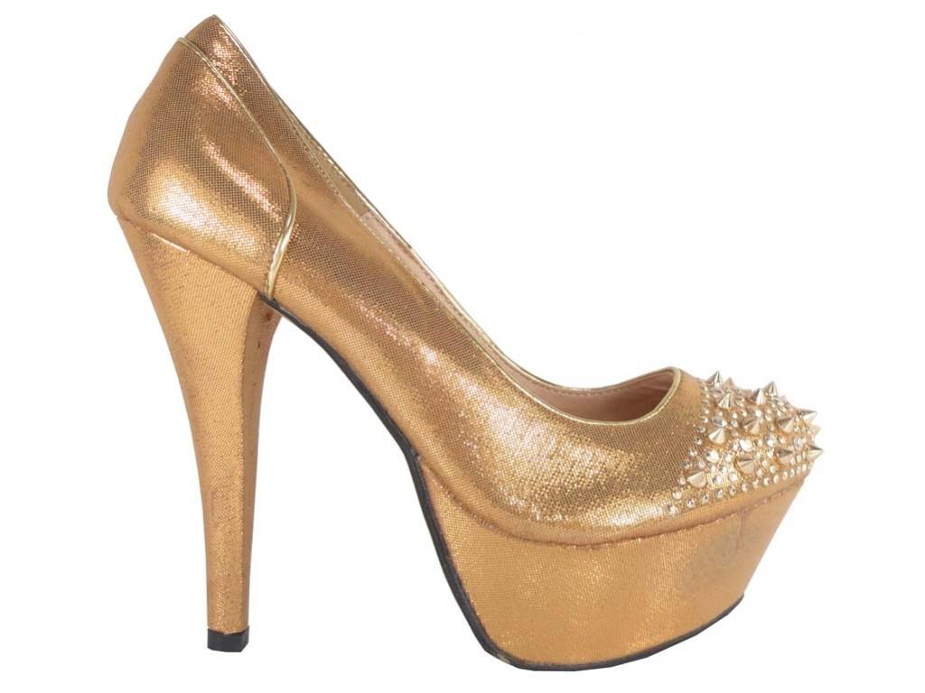 Outlet Stiletto Schuhe glitzern goldene Spikes Nieten - 1