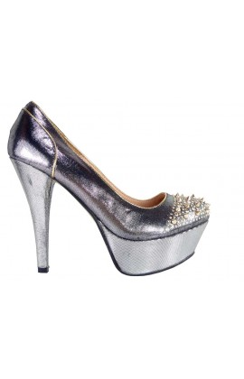 Outlet szpilki buty brokatowe srebrne kolce ćwieki