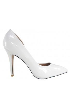 Szpilki wysokie buty białe lakierki ślubne
