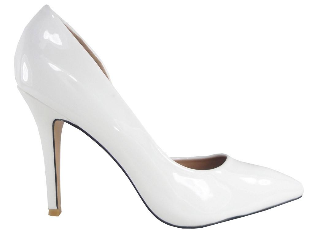 High Heels weiße Lackleder Hochzeitsschuhe - 1