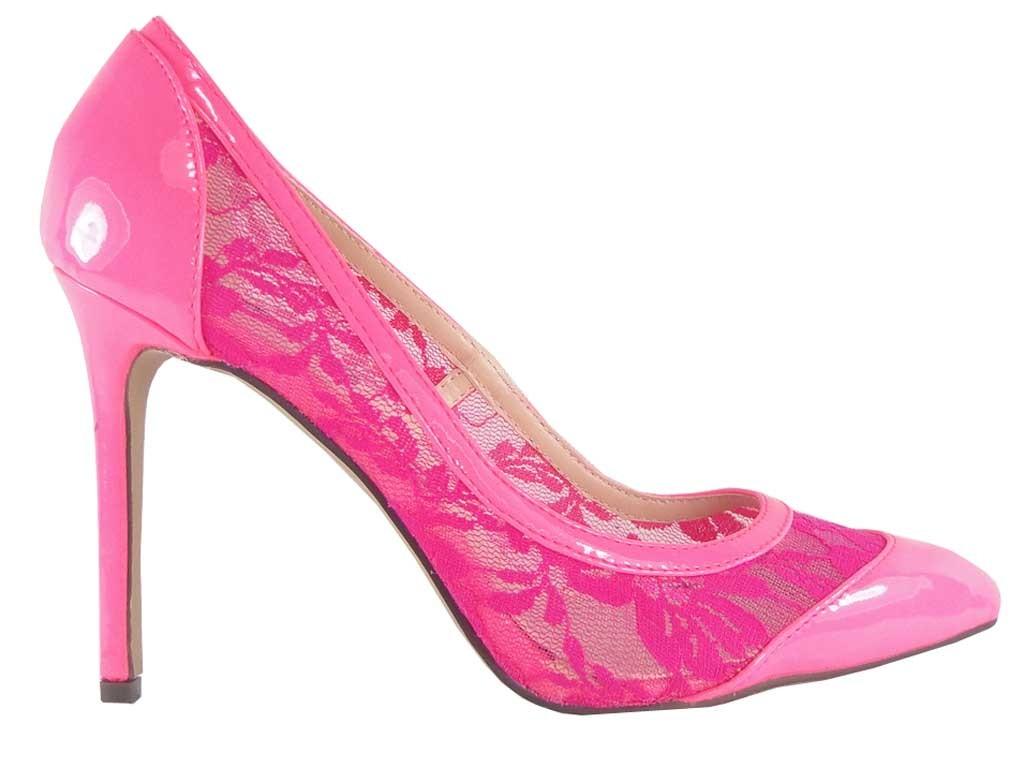 Rosa High Heels aus Lackleder mit Neonspitze - 1