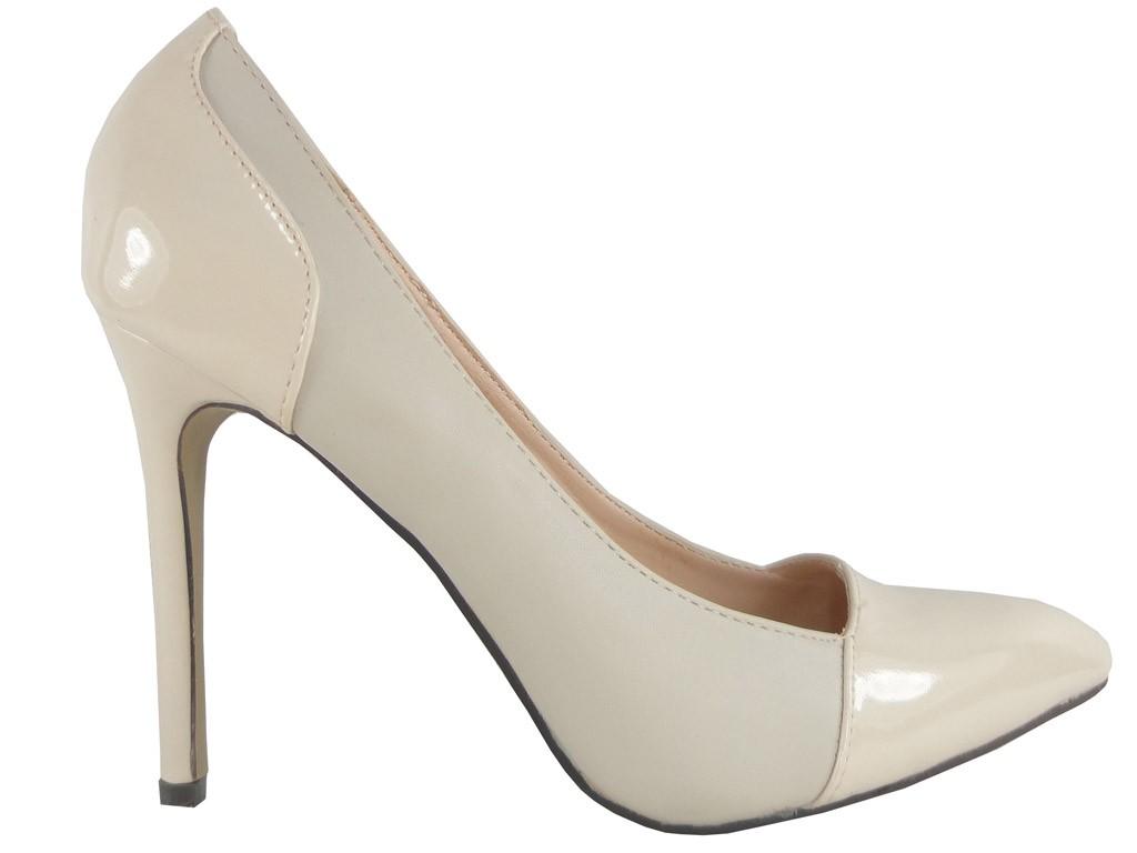 Beige Lackschuhe High Heels Ecru Schuhe - 1