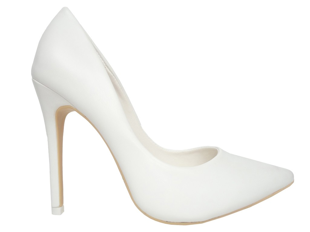 Klassische High Heels Pumps weiße Matte - 1