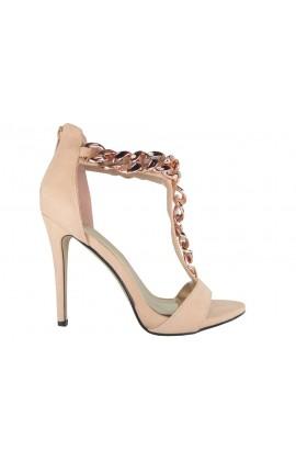 Szpilki wysokie sandałki złoty łańcuszek