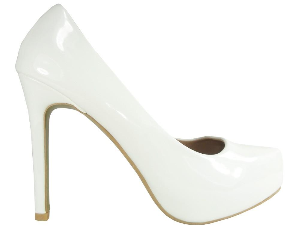 Weiße High Heels Lackleder Hochzeitsschuhe Pumps - 1