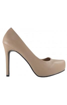 Szpilki beżowe matowe buty na obcasie czółenka