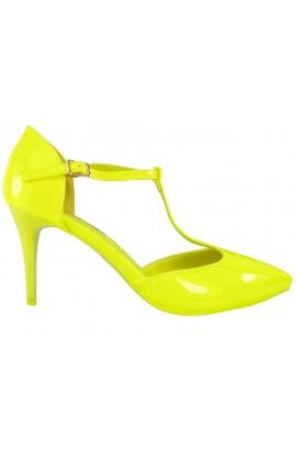 Buty żółte szpilki neonowe z paskiem w kostce