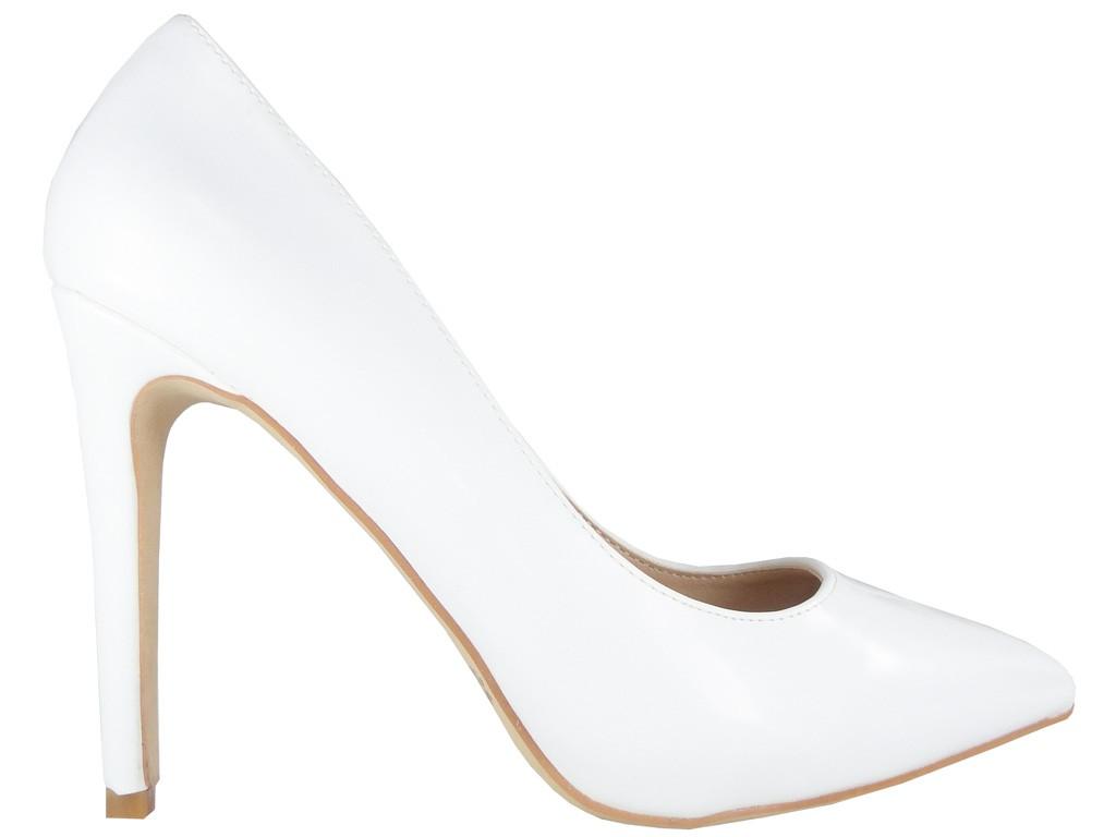 Weiße matte Stilettos Öko-Lederhochzeit - 1