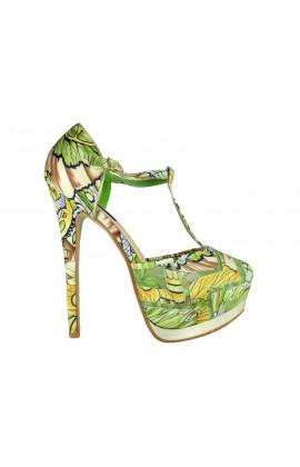Zielone kwiatowe sandałki na obcasie