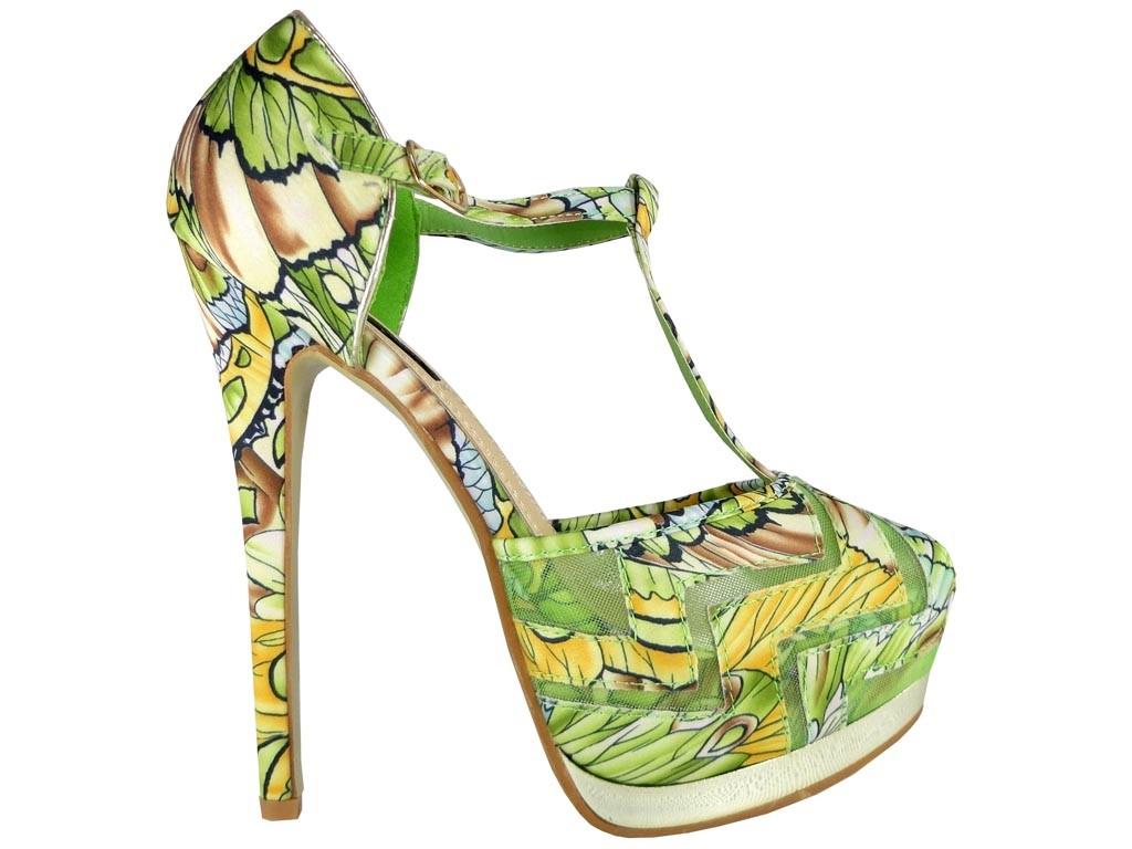 Grüne florale High Heels Sandalen