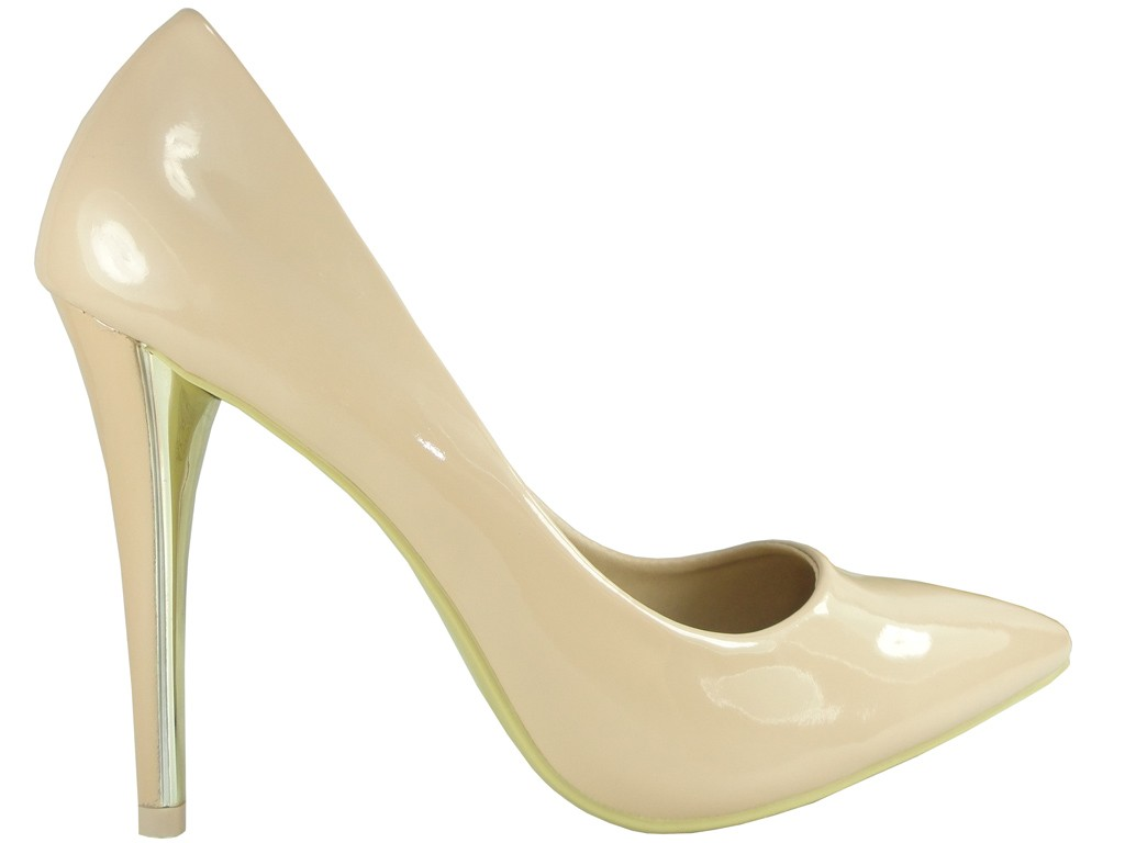 Beige heeled shoes pins lacquered - 1