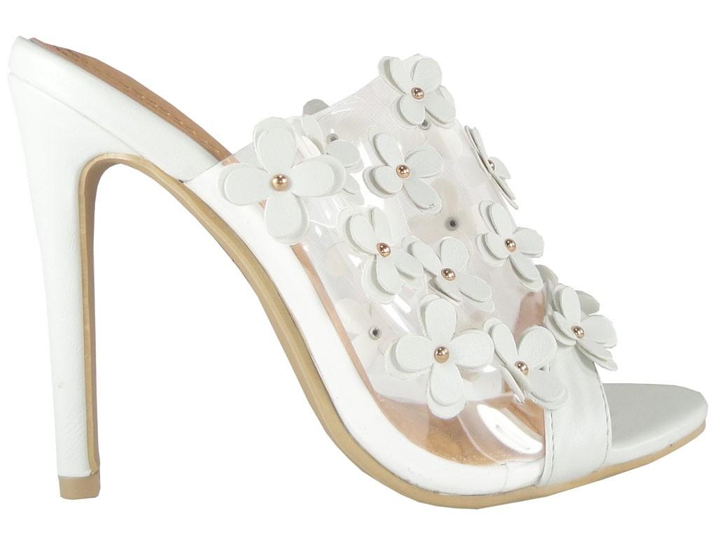 White ladies' flip-flops transparent in heel - 1