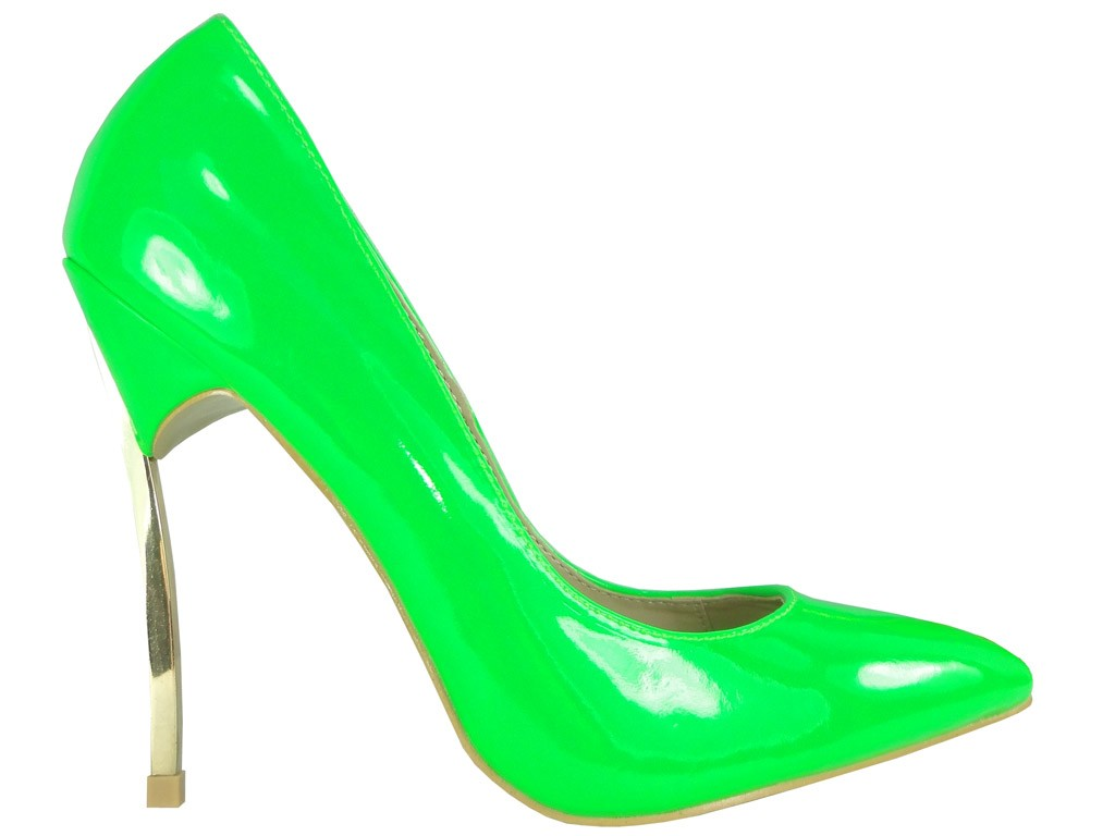 Grüne neonfarbene Damen-Pins mit Absätzen - 1