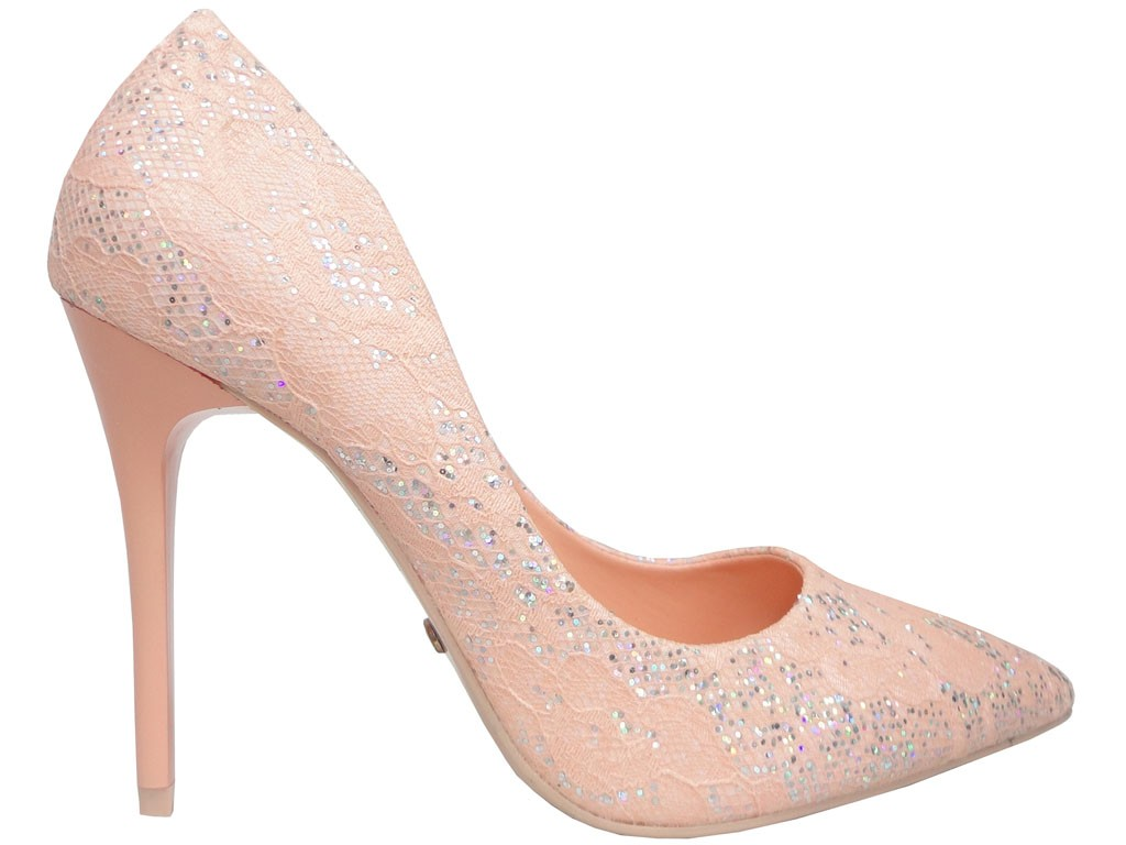 Pale pink lace pins with glitter - 1