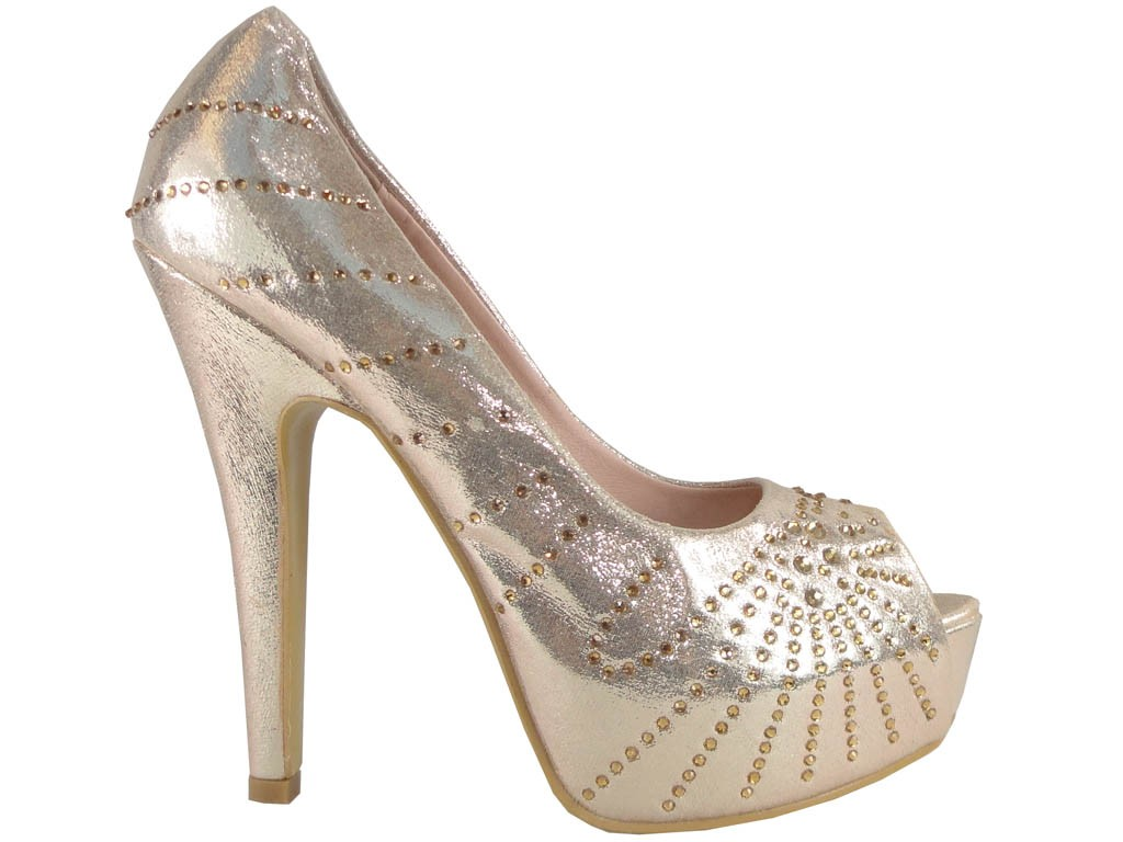 Gold high heels on the sequins platform - 1
