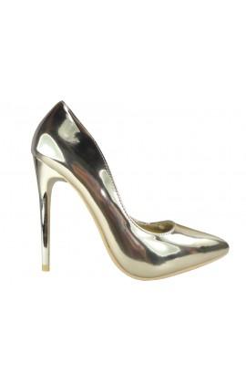 Złote szpilki lustrzane czółenka buty
