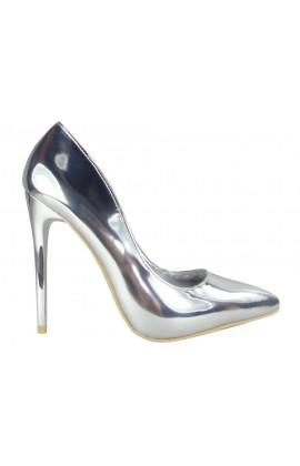 Srebrne szpilki lustrzane czółenka buty