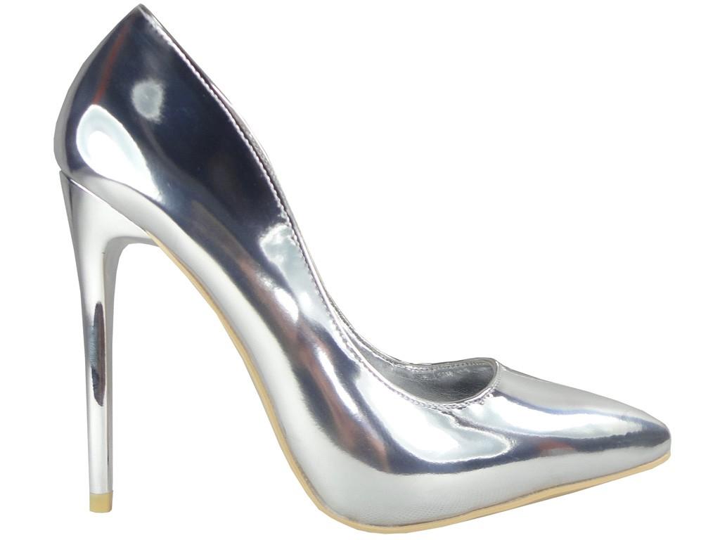 Silber Stilettos Spiegel Pumps Schuhe - 1