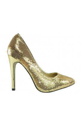 Złote szpilki czółenka buty damskie