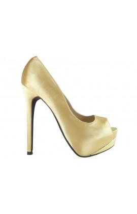 Outlet szpilki złote na platformie buty online