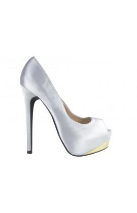 Outlet szpilki srebrne na platformie buty online