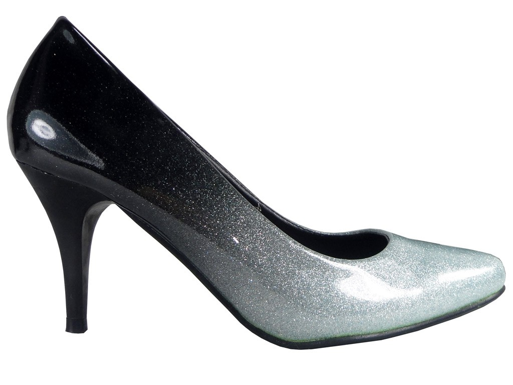 Ombre Low Heels schwarze silberne Schuhe - 1