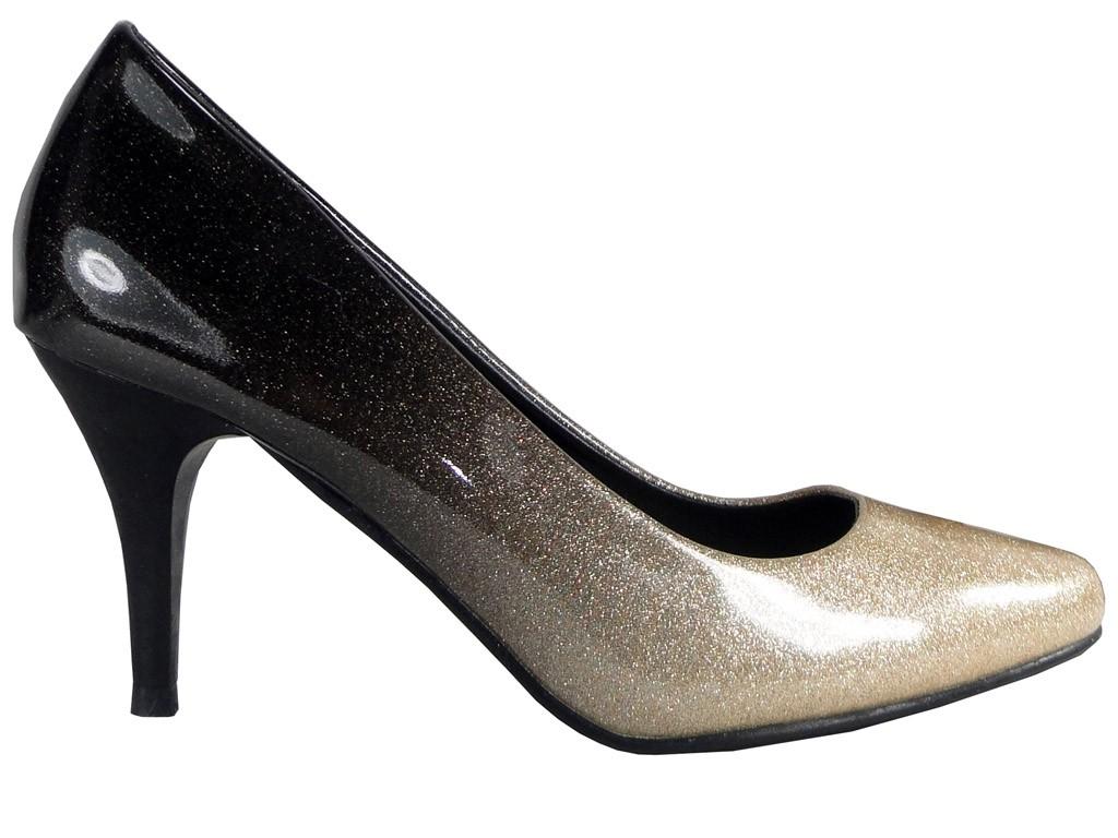 Ombre Low Heels schwarz und goldene Schuhe - 1