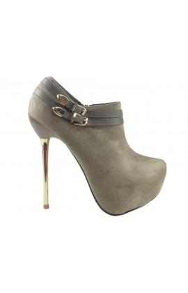Botki beżowe zamszowe szpilki buty damskie