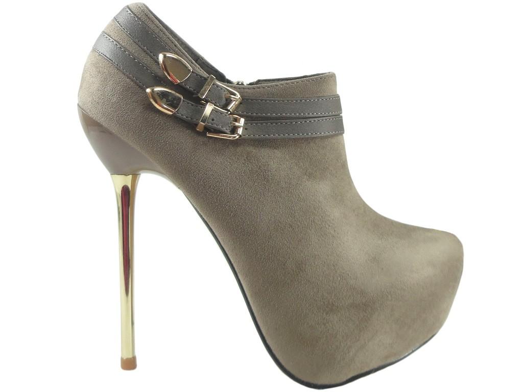 Beige suede boots pins Women's boots - 1