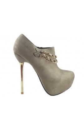 Beżowe botki buty damskie z łańcuszkiem