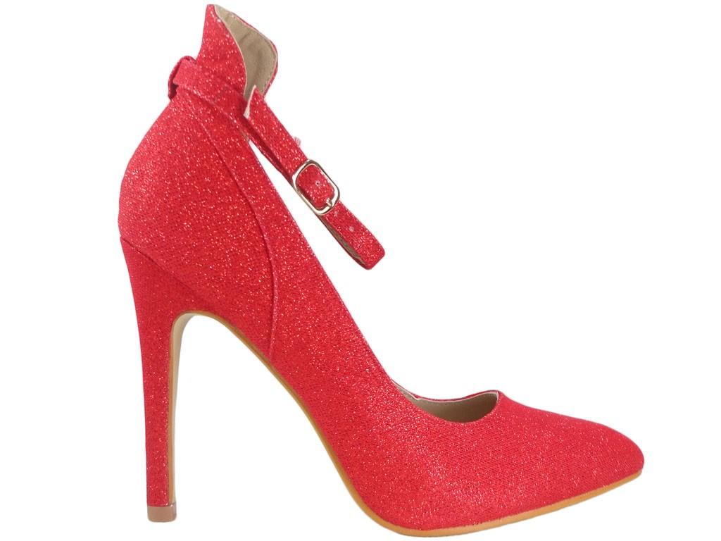 Rote Brokatschuhe für Damen mit Gürtel - 1