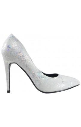 Szpilki srebrno perłowe buty damskie