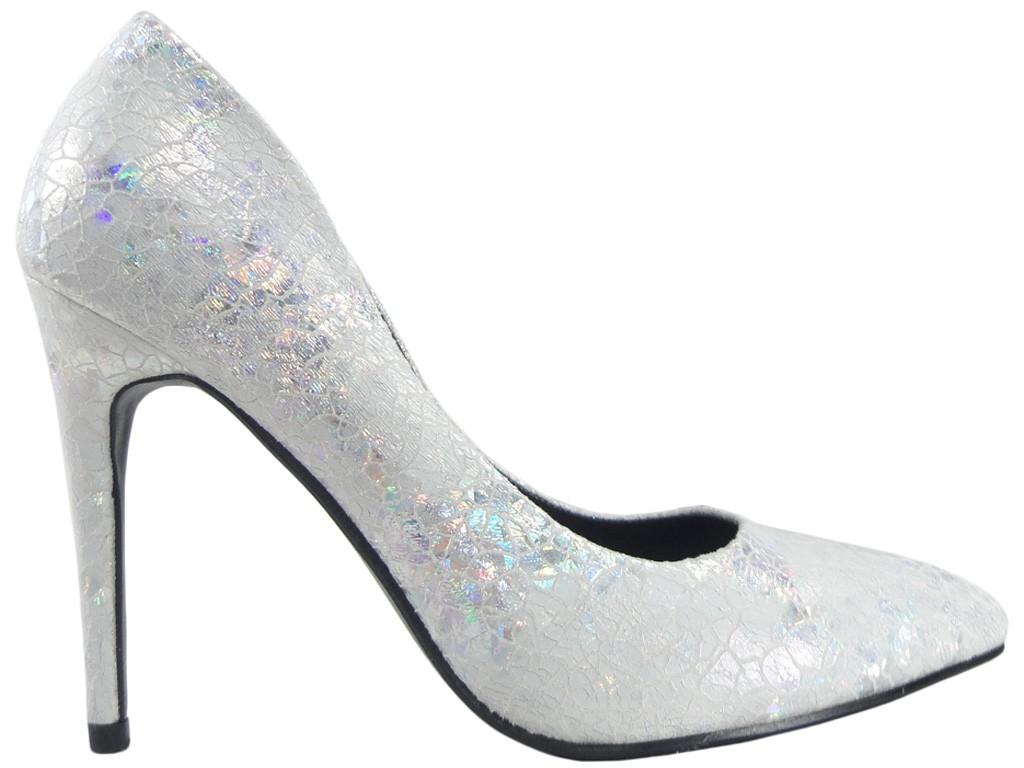High-Heels Damenschuhe aus Silberperle - 1