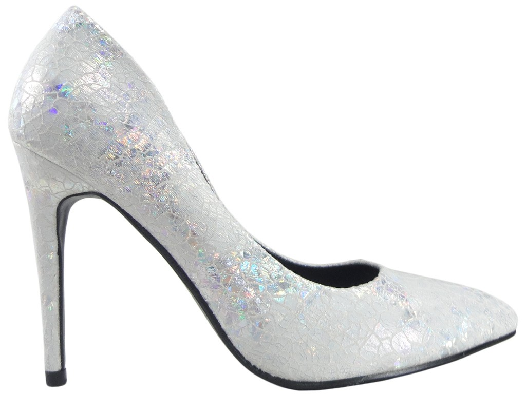 Pearl silver pins ladies' shoes - 1