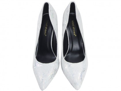 Pearl silver pins ladies' shoes - 2