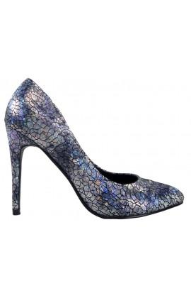Szpilki czarno srebrne buty damskie