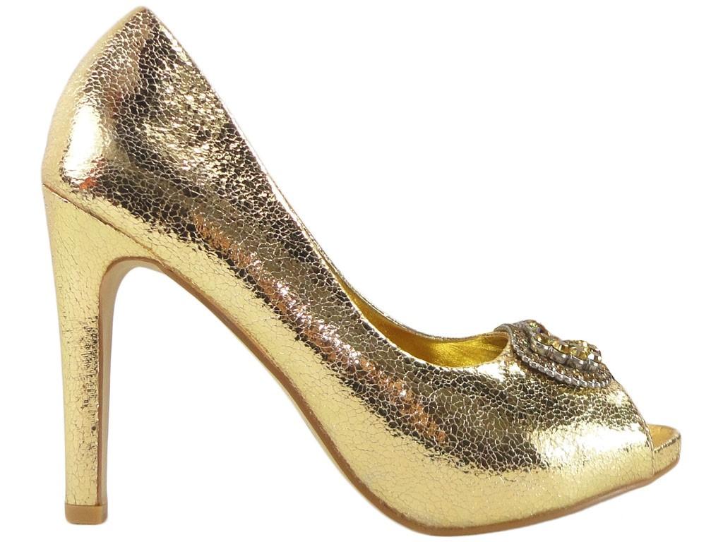 Stilettos goldene Damenschuhe mit Zirkon - 1
