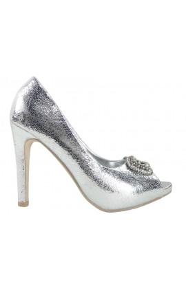 Srebrne szpilki buty damskie z cyrkoniami