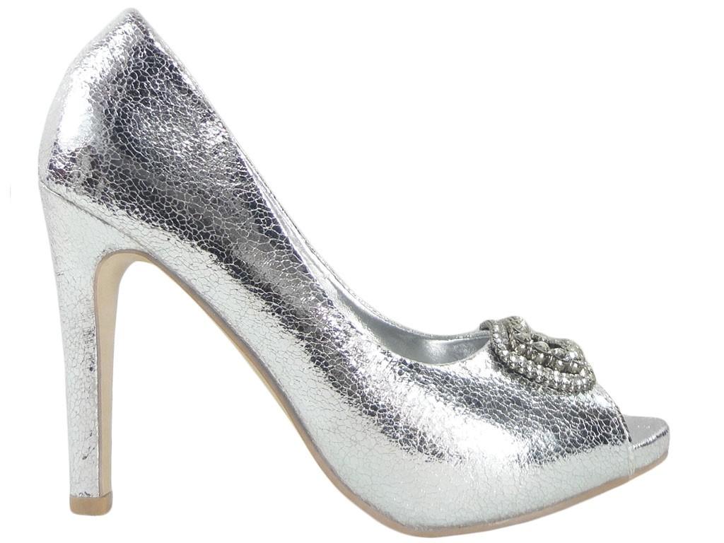 Silberne High Heels Damenschuhe mit Zirkon