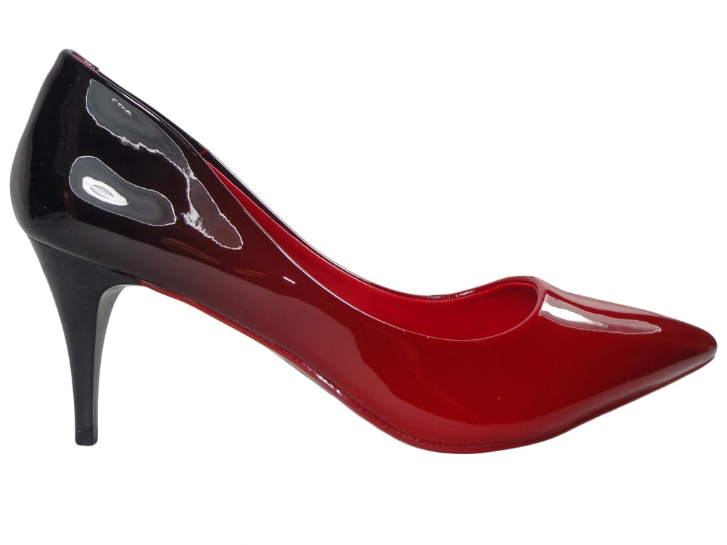 Damenschuhe ombre schwarze und rote High Heels